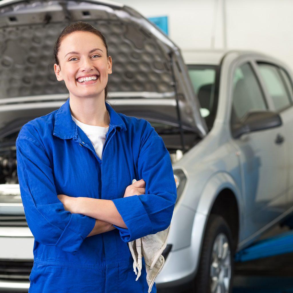 young female auto mechanic