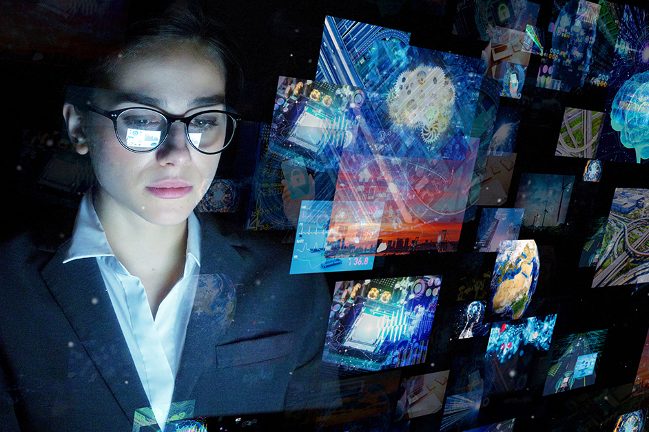 young woman looks at futuristic images